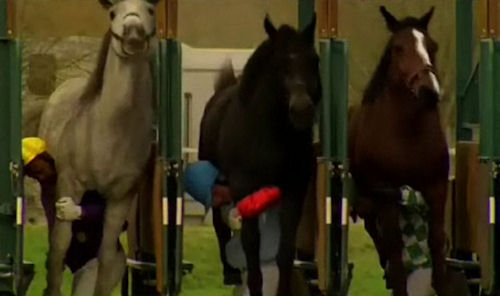 Vittel Water advertisement: Jockeys preparing for race with horses on their backs